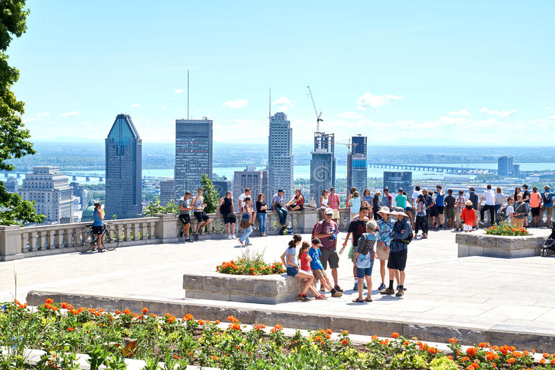 Scenic view of downtown Montreal stock photography