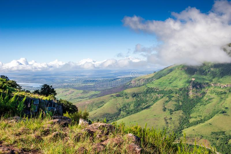 Scenic view from The Edge over Tyhume Valley and Amathola Mountains in Hogsback , Eastern Cape, South Africa stock photo
