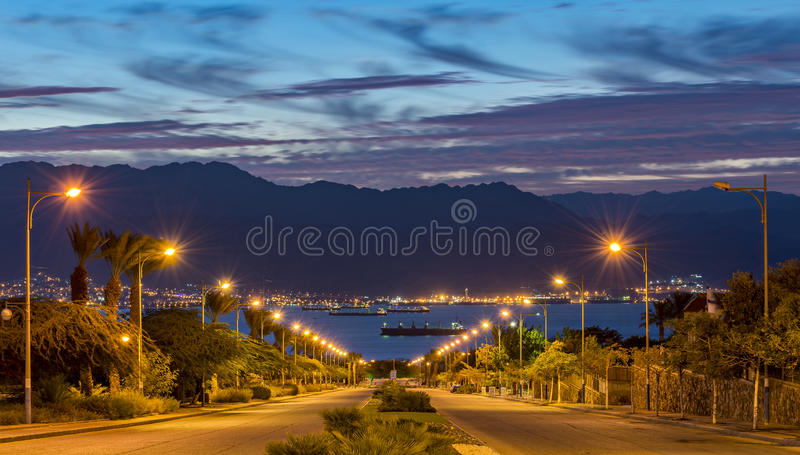 Scenic view on Eilat (Israel) and Aqaba (Jordan) stock images