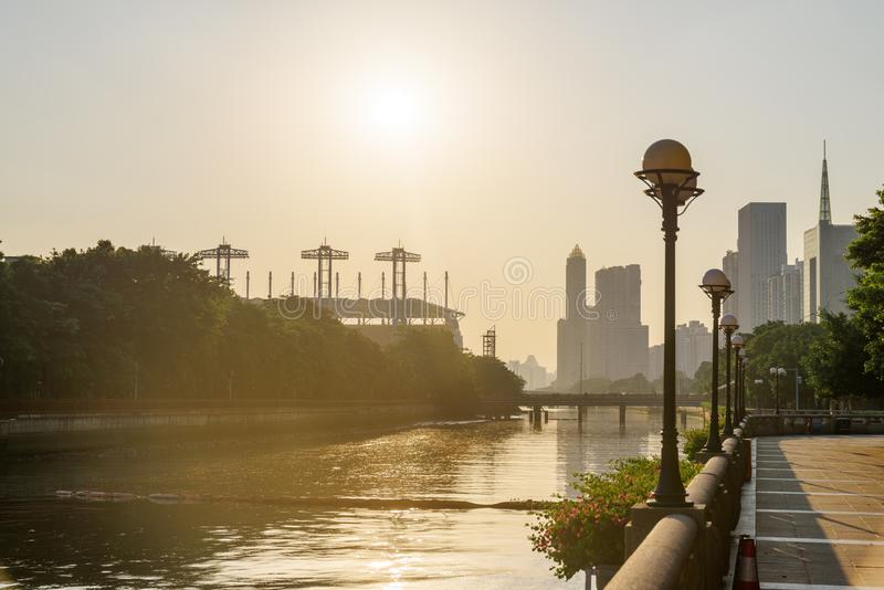 Scenic view of embankment of the Pearl River at sunset stock photos