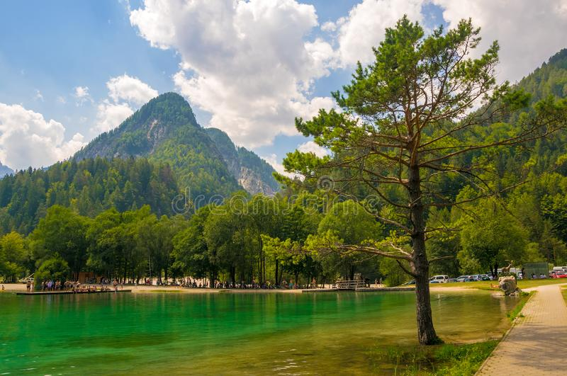 Scenic view of emerald water of Jasna lake near Kranjska Gora in Slovenia. Julian Alps in background royalty free stock photography