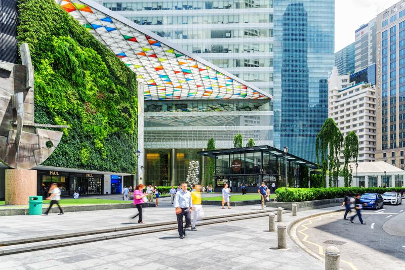 Scenic view of entrance to the Ocean Financial Centre, Singapore royalty free stock image