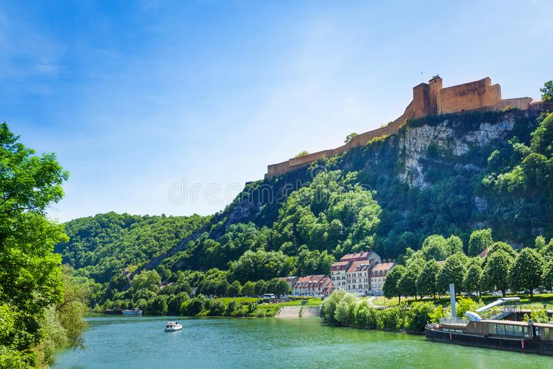 Scenic view of famous citadel in Besancon, France. Scenic view of famous citadel on the summit of Saint-Etienne mount in Besancon, at sunny day, France royalty free stock photos