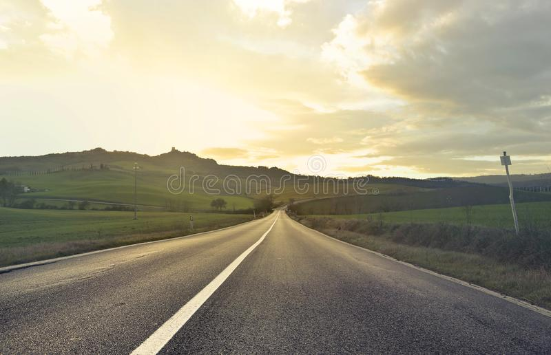 Scenic View of the Field from the Road stock photo
