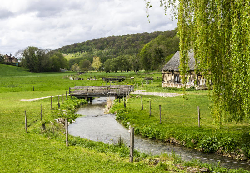 Scenic view on the french spring countryside with river for French countryside real estate