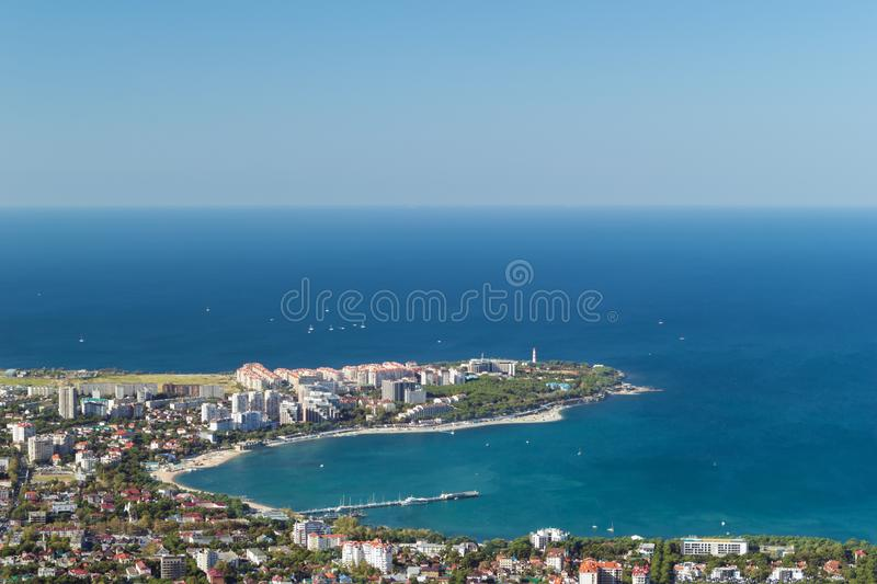 Scenic view of Gelendzhik resort city district from hill of caucasian mountains. Sunny day in vacation. Background with. Scenic view of Gelendzhik resort city royalty free stock images
