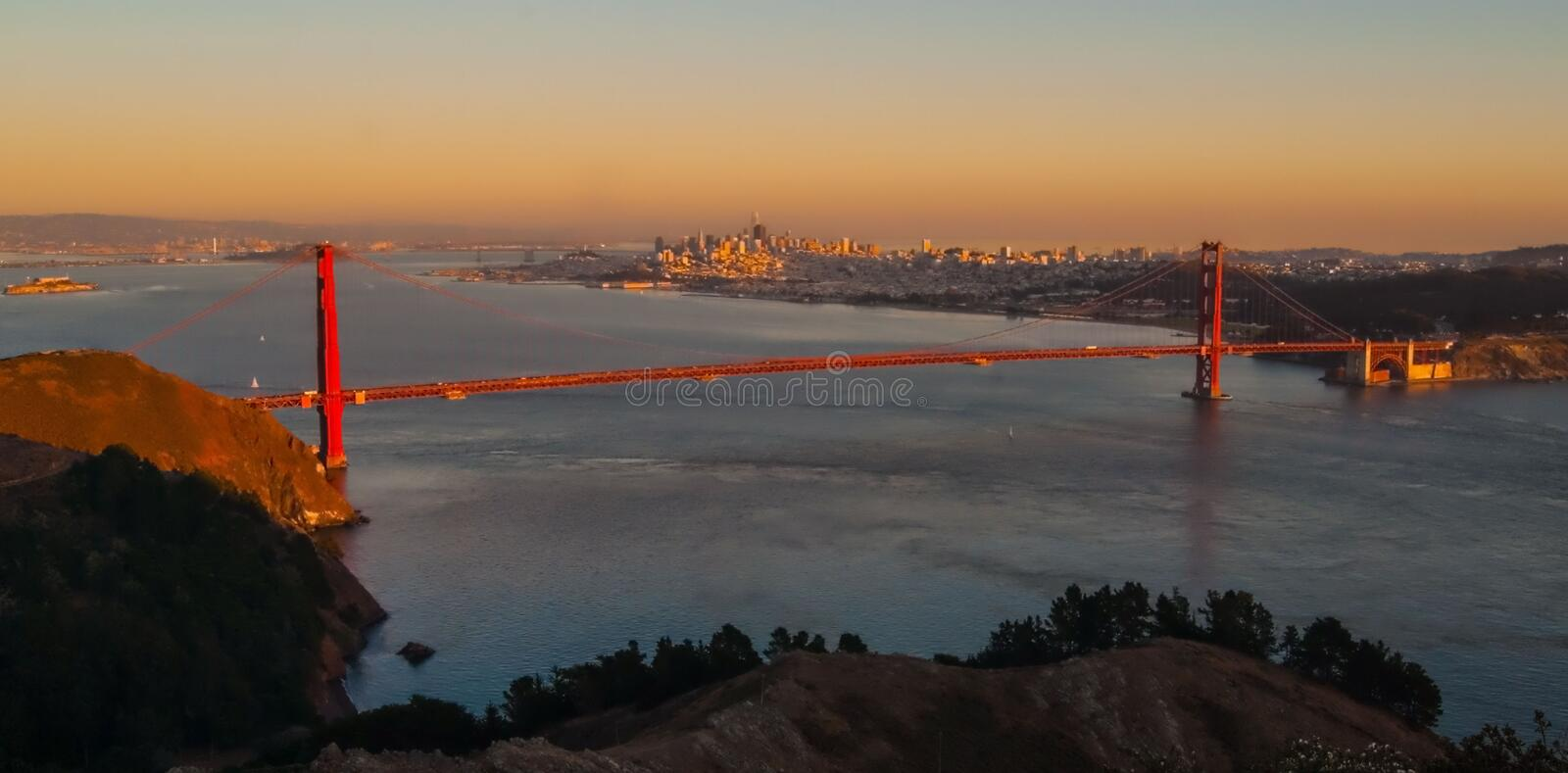 Golden Gate Bridge At Sunset. A scenic view of the Golden Gate Bridge in San Francisco  at sunset stock photography