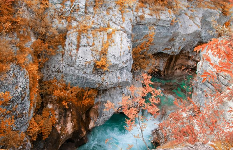 Scenic view of Great Canyon of Soca river near Bovec, Slovenia at autumn day. Azure waters of river Soca flowing through a narrow and deep rocky gorge and cave stock image