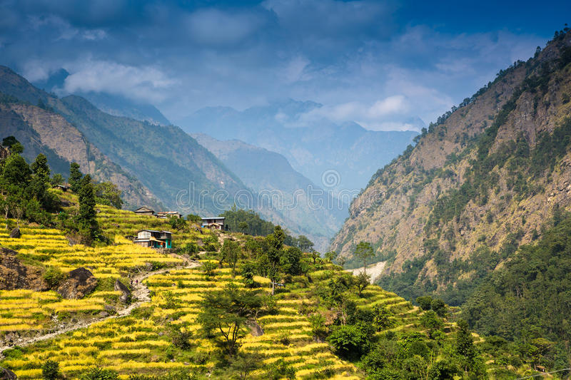 Scenic view of the Himalaya mountains. And villages royalty free stock image