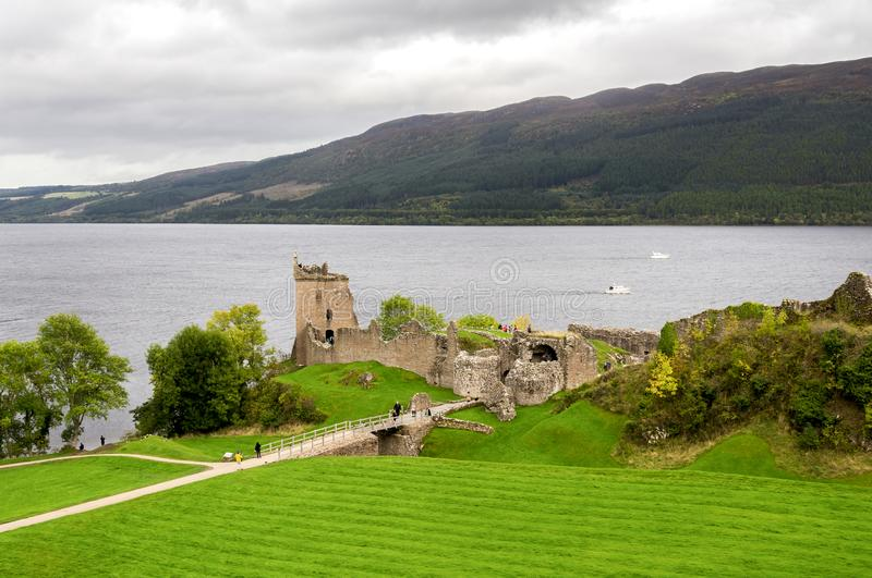 A scenic view of the historic Urquhart Castle situated at the shores of Loch Ness lake, Scottish Highlands. October 2017 stock images