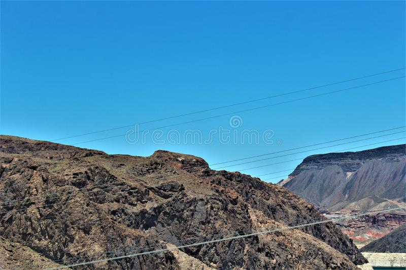 Hoover Dam, Bureau of Reclamation, Clark County, Nevada/Mohave County Arizona, United States. Scenic view of Hoover Dam, Bureau of Reclamation, located in Clark royalty free stock images