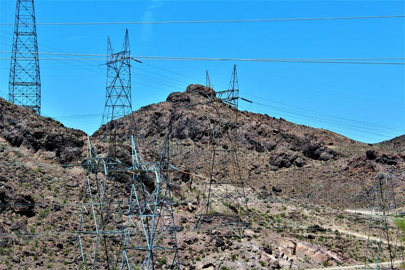 Hoover Dam, Bureau of Reclamation, Clark County, Nevada/Mohave County Arizona, United States. Scenic view of Hoover Dam, Bureau of Reclamation, located in Clark royalty free stock photos