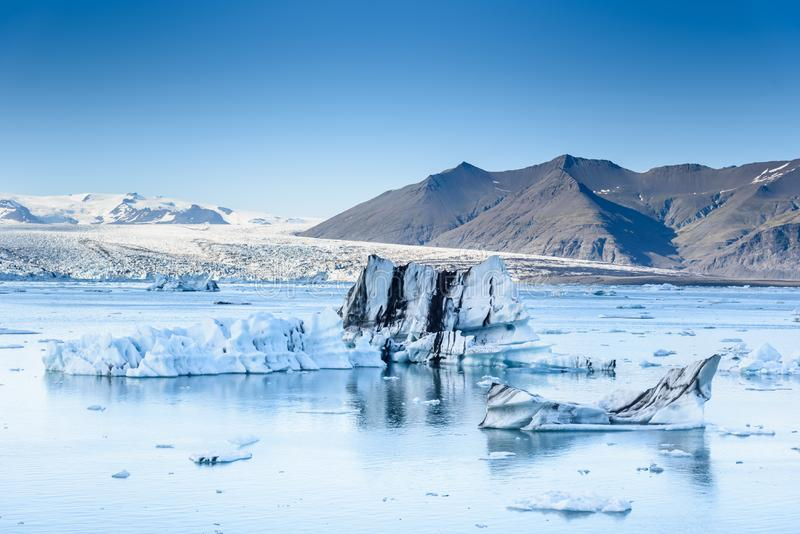 Scenic view of icebergs in glacier lagoon, Iceland stock image