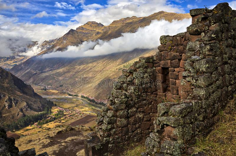 Sacred Valley. Scenic view from Inca fortress ruins Pisaq to the Urubamba River in Sacred Valley stock images