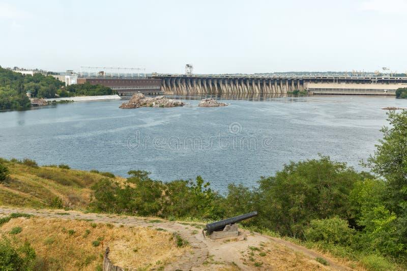 Khortytsia island, Dnieper River and hydroelectric power plant. Zaporizhia, Ukraine. Scenic view from the island of Khortytsia with Zaporozhskaya Sich to the stock image