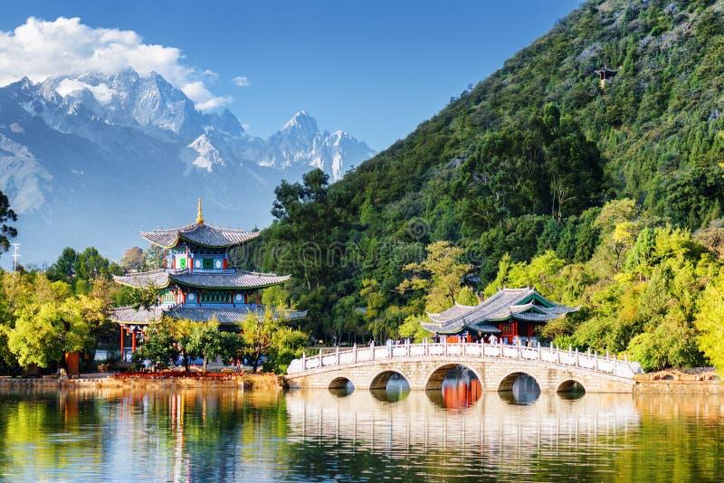 The Jade Dragon Snow Mountain and the Black Dragon Pool, China stock photo