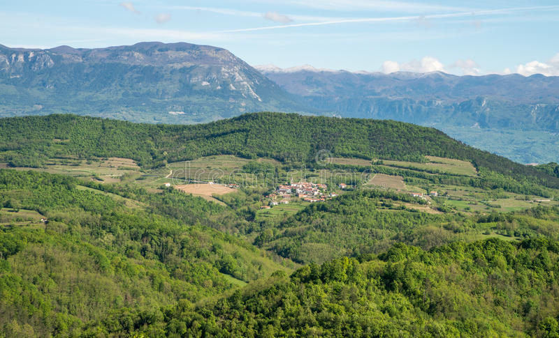 Scenic view on Karst region landscape in Slovenia royalty free stock image