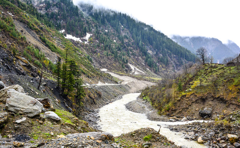 Scenic view of Kunhar river & mountains in Naran Kaghan Valley, Pakistan stock photo