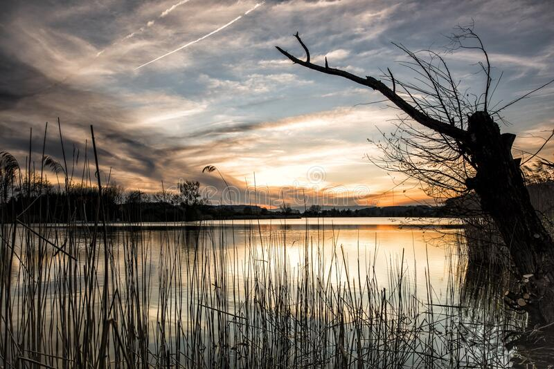 Scenic View of Lake Against Sky during Sunset royalty free stock photos