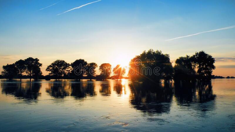 Scenic View of Lake Against Sky during Sunset royalty free stock photo
