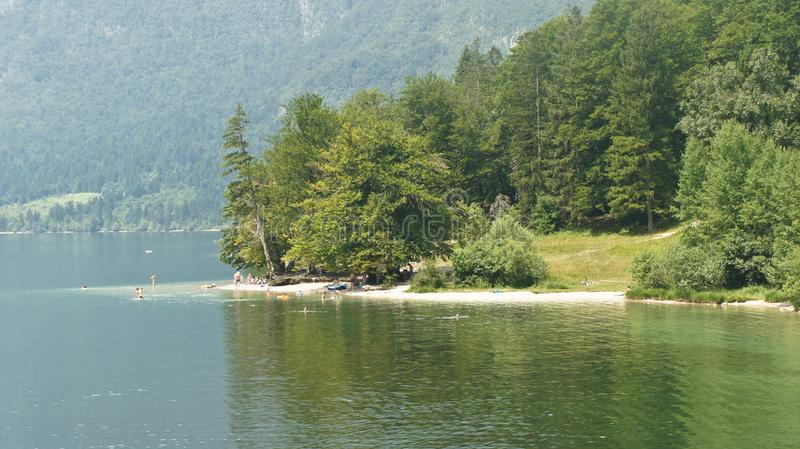 Scenic view of the lake Bohinj, Julian Alps and valley, Slovenia stock images