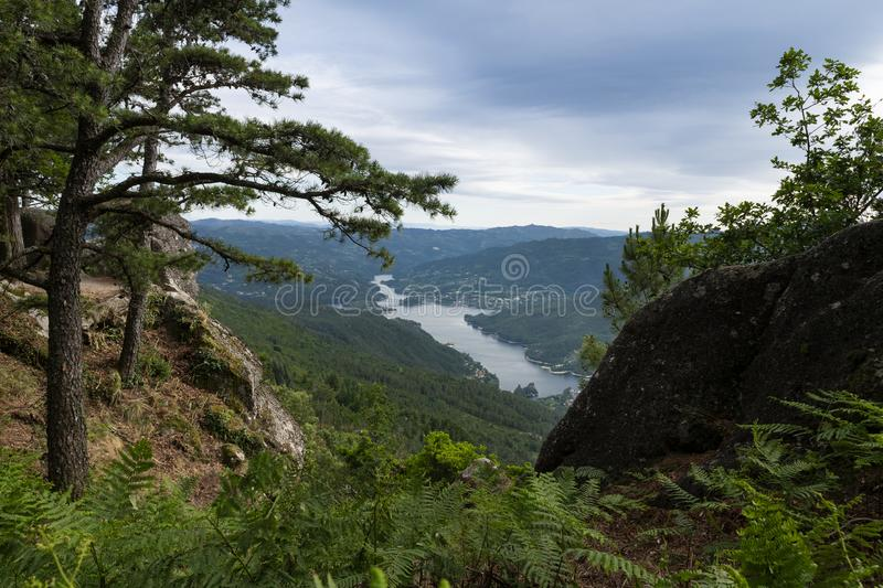 Scenic view of the lake at the Canicada Dam and the surrounding mountains from the Pedra Bela viewpoint at the Peneda Geres Nation. Al Park, in Portugal, Europe royalty free stock photo