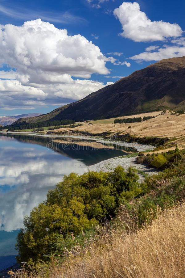 View of Lake Hawea in New Zealand stock photos
