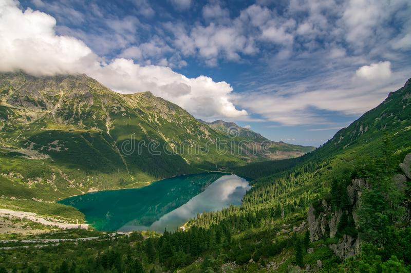 Scenic view of mountain lake Morskie Oko from trail to Czarny Staw, Tatra Mountains, Poland royalty free stock images