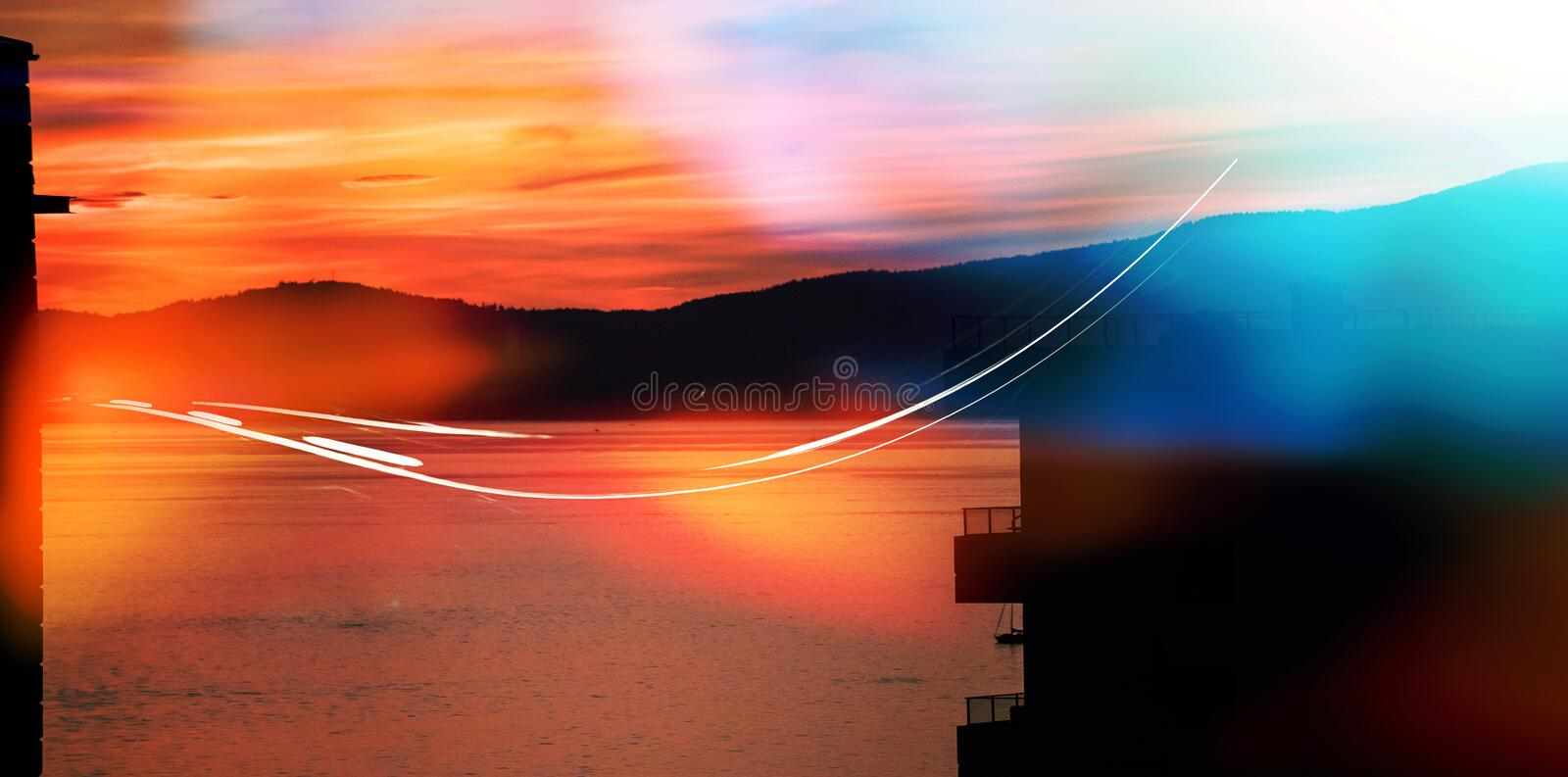 Scenic view of lake mountain during sunset. Scenic view of lake by silhouette mountain against sky during sunset stock illustration