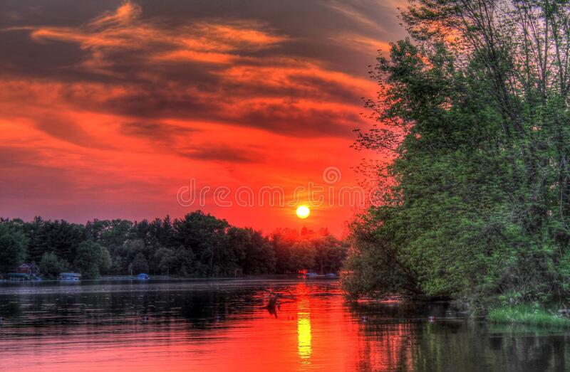 Scenic View of Lake during Sunset stock photos