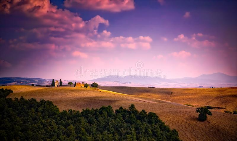 Scenic View of Landscape Against Dramatic Sky royalty free stock photography