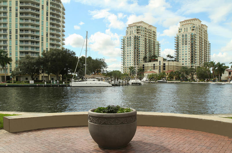 Scenic view from Las Olas Riverfront. The view from Las Olas Riverfront in Fort Lauderdale, Florida, USA stock photo
