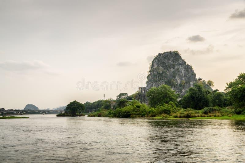 Scenic view of the Li River (Lijiang River), Guilin, China royalty free stock photo
