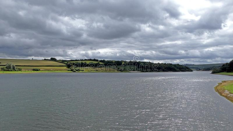 A scenic view looking across Wimbleball lake in Exmoor stock photography