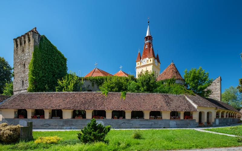 Scenic view Lutheran fortified church and evangelical cemetery in Cristian, Brasov County, Romania royalty free stock photography