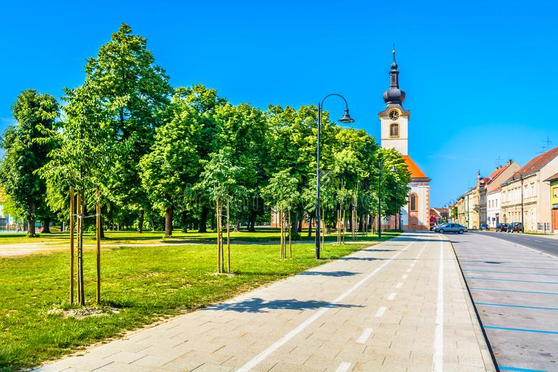 Colorful streets in Koprivnica town. stock photos