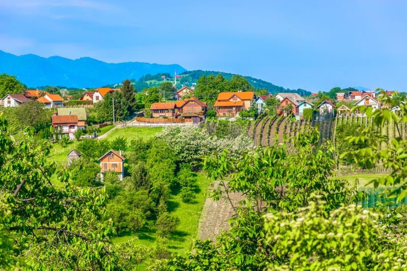Amazing scenery in springtime, Zagorje Croatia. Scenic view at marble nature and landscape in springtime in Zagorje region, Varazdin County stock image