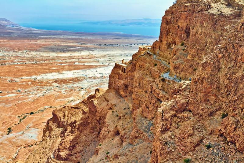 Scenic view of Masada mount in Judean desert near Dead Sea, Israel royalty free stock images