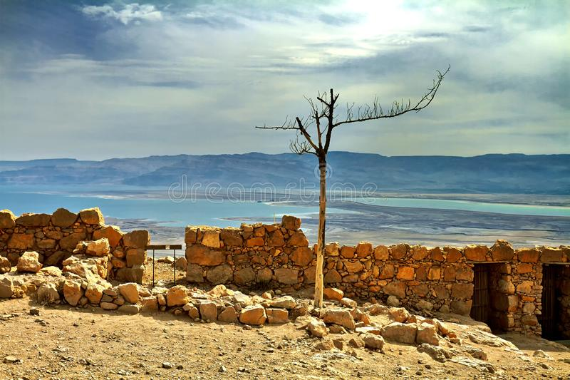 Scenic view of Masada mount in Judean desert near Dead Sea, Israel. Snake Path, favorite tourist hiking destination in Israel, great way to visit Herod's stock photos