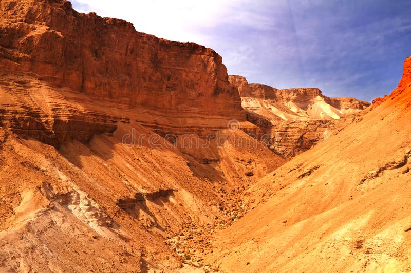 Scenic view of Masada mount in Judean desert near Dead Sea, Israel. Snake Path, favorite tourist hiking destination in Israel, great way to visit Herod& x27;s stock photo