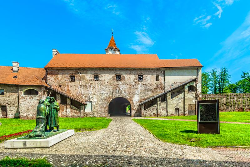 Old historical square in Cakovec, Croatia. Scenic view at medieval historical architecture in Cakovec old town, Northern Croatia royalty free stock photo