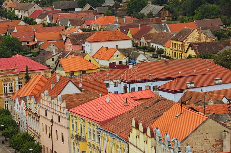 Scenic view of medieval Slavonice city in Czech Republic. Colorful buildings with red tile roofs. Slavonice, Czech Republic.  stock photos