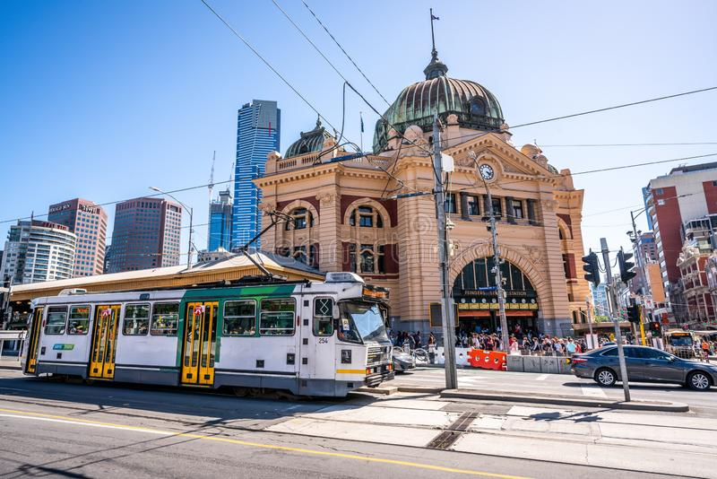 Scenic view of Melbourne tram and Flinders street railway station building in Melbourne Victoria Australia stock photography