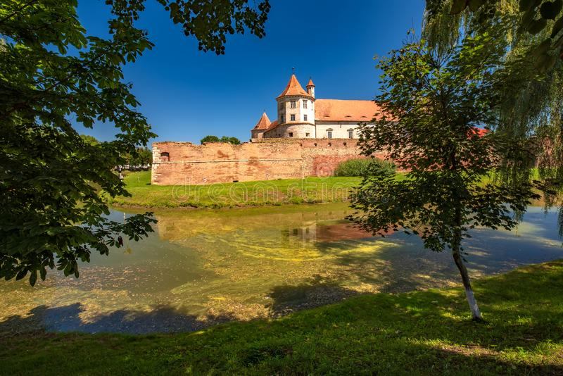 Scenic view of middle ages Fagaras Citadel, Fagaras , Transylvania. Romania. Scenic view of middle ages Fagaras Citadel built in XVth century. Fagaras royalty free stock photography
