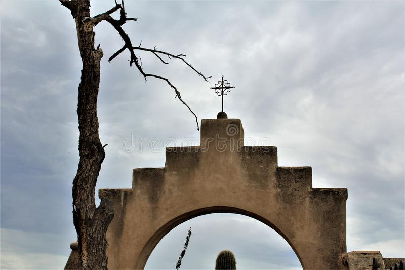 Mission San Xavier del Bac, Tucson, Arizona, United States. Scenic view of Mission San Xavier del Bac, located in Tucson, Arizona, United States stock image