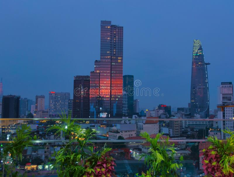 Scenic view of the modern city of Saigon, Vietnam Ho Chi Minh City at dusk. Elevated night shot royalty free stock photos