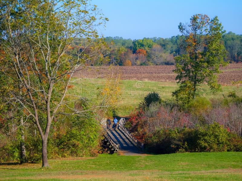 Monmouth Battlefield Hike. A scenic view of Monmouth Battlefield State Park in Freehold New Jersey stock image