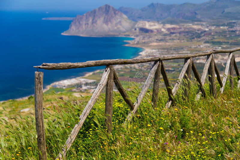 Scenic view on Monte Cofano in Erice. (Sicily, Italy stock image