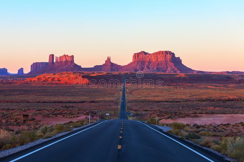Scenic view of Monument Valley in Utah at sunrise, United States.  stock photography