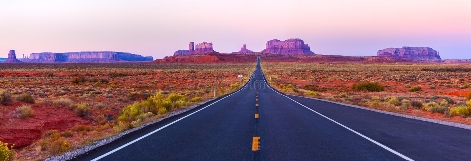 Scenic view of Monument Valley in Utah at twilight, USA.  stock photos